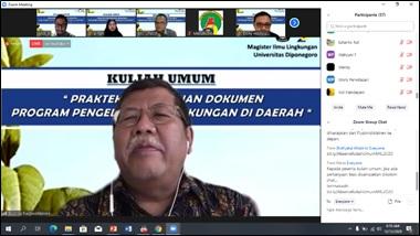 Kepala Pusbindiklatren Bappenas  Dr. Guspika, MBA memberikan Kuliah Umum Daring di Mil Sekolah Pascasarjana Universitas Diponegoro, Sabtu 12 Desember 2020